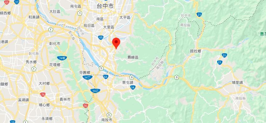 参山风景区在台中地理位置地图