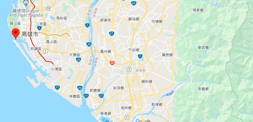 高雄旗津地理位置地图