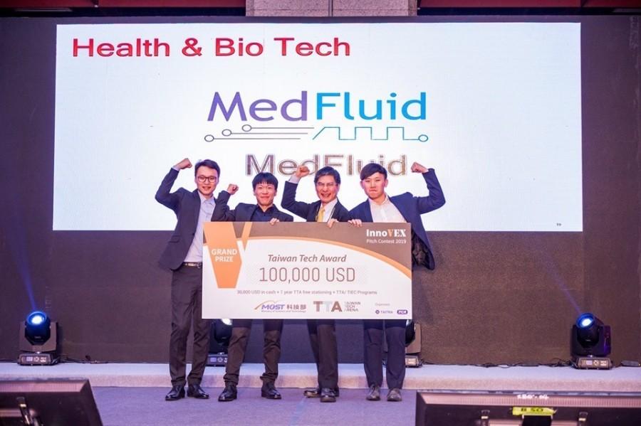 2019年举办的InnoVEX新创特展,「医流体」获得价值10 万美元的InnoVEX 竞赛首奖Taiwan Tech Award。