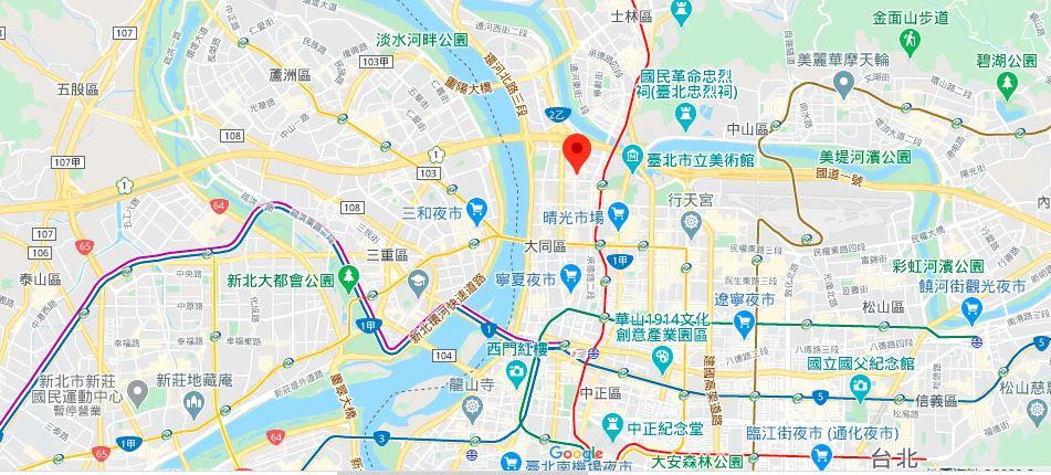 台北孔庙地理位置地图