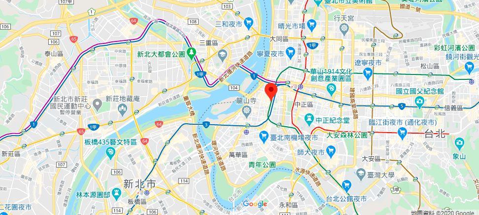 台北西门町地理位置地图