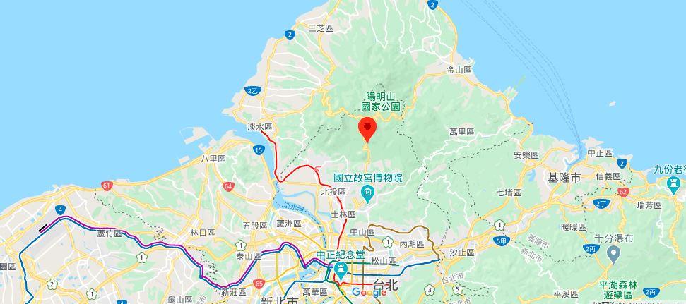 阳明山地理位置地图