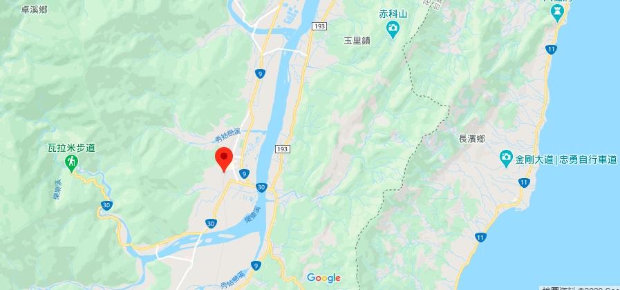 花莲玉富自行车道地理位置地图